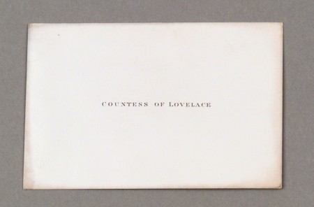 Calling card of Countess Lovelace