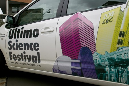 Car displaying Ultimo Science Festival signage