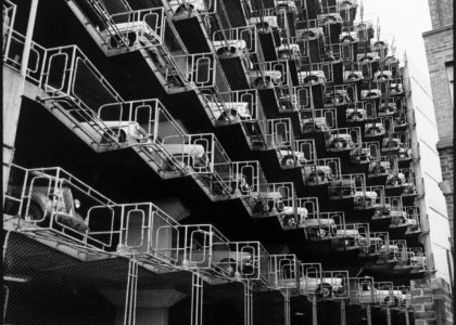Black and white image of a multistoried carpark