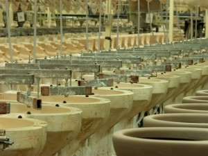 Close up of production line at Caroma's factory