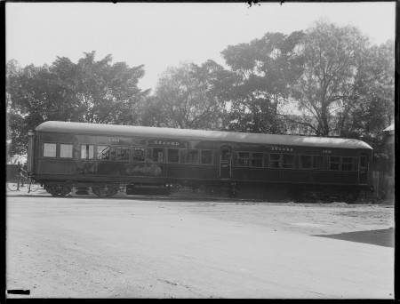 1920-1945 Black and white photo of a second class train carriage