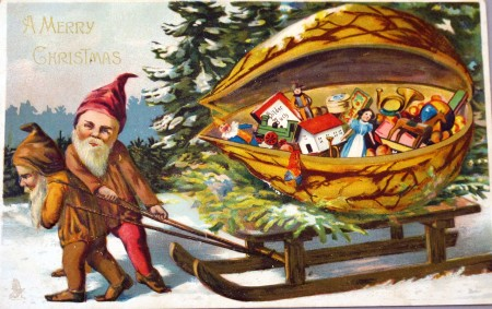 Illustrated picture of two elves pulling a sledge full of children's toys