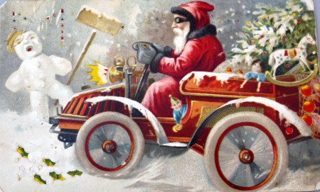 Illustrated image of Santa on a snowmobile with children's toys and a Christmas tree at the back