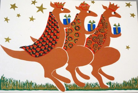 Illustrated kanagroos dressed as the three wise men