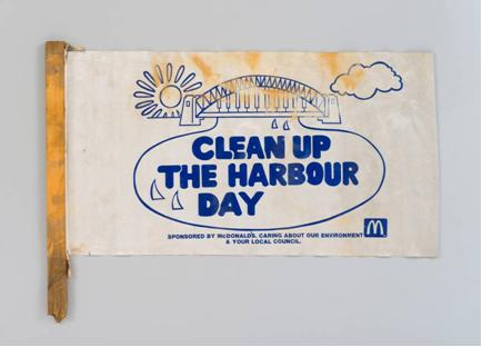 "Illustration of Harbour Bridge with the Words ""Clean up the harbour day"" written in bold text. Collection: Powerhouse Museum"
