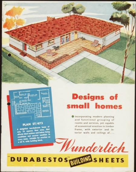 Illustrated 1955 advertisement for the designs of small homes