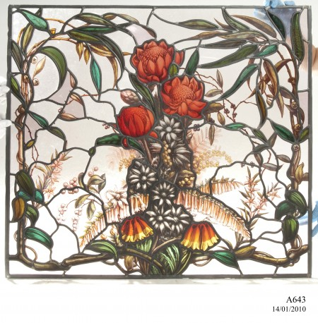 Building ornamentation stained glass design, including Waratahs, Christmas Bells and leafy vines creating a boarder
