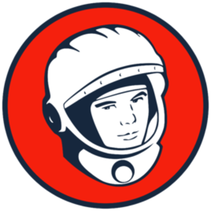 Illustrated logo of astronauts head