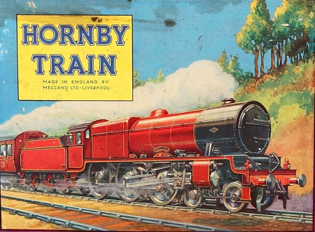 "Illustrated steam train with the text ""Hornby Train"""