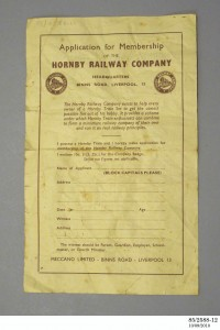 Photograph of application for membership to the Hornby Railway Company