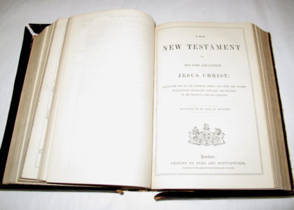 Bible opened up to the first page of the New Testament