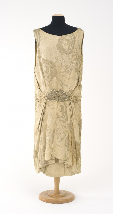 3 David Jones Dress, with floral pattern with detailed beaded belt around the hips
