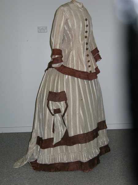 Quirindi Wedding dress, brown and white striped with brown trimmings