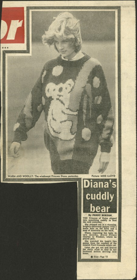 Front page of the Daily mirror newspaper with a photograph of Princess Diana wearing the koala jumper designed by Jenny Kee