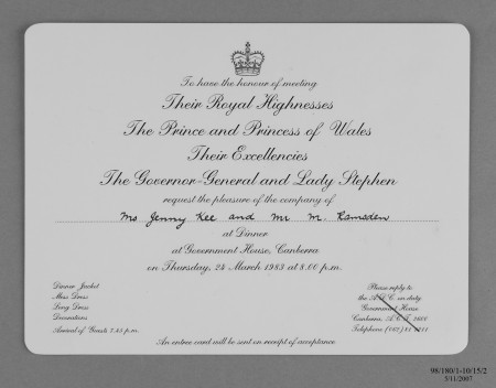 Entree card, Jenny Kee for dinner at Government House