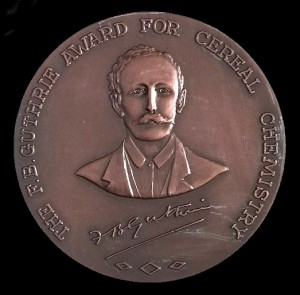 "Portrait of Frederick Bickel Guthrie on a bronze medal with the text "" the F.B.Guthrie Award for cereal chemistry"""