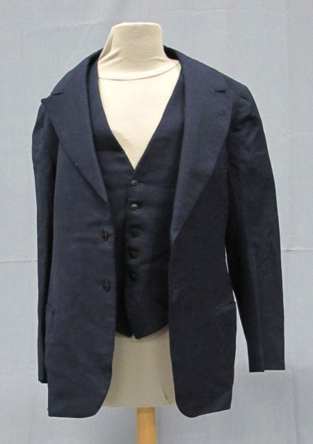 Mourning suit, simple dark navy blue blazer with matching vest