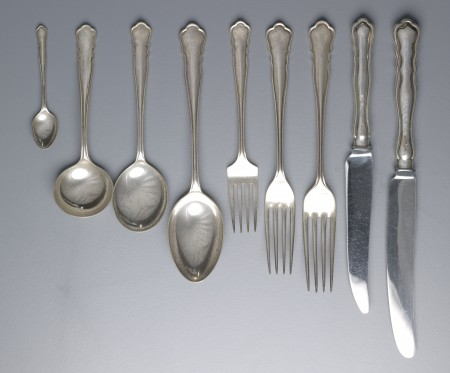 Place setting, 9 pieces, sterling silver/stainless steel