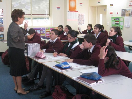 Chadia Gedeon-Hajjar, President of Mirath in Mind talks to Year 8 and 9 students at the Holy Spirit College Lakemba about Fairuz