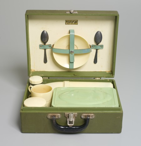 Picnic case and contents from the 1950's