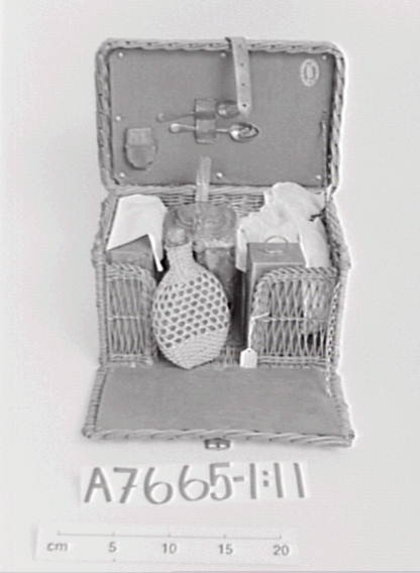 A7665 Picnic basket. Wicker work. Fitted with tins, china & utensils. Victorian. (LC).