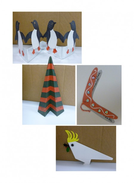 Penguin, Christmas tree, boomerang and cockatoo Christmas cards, designed and hand made by Suzanne Annand