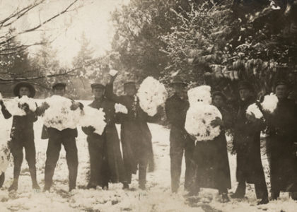 Postcard, young men with snowmen, addressed to Mrs. W. Hall, West Maitland, New South Wales, photographic print, Australia, 1905