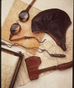Lores Bonney's maps, goggles and flying helmet 1930s