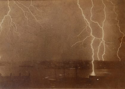 Lightning strikes on the Sydney Harbour, 7 December, 1892. The photograph was exposed over four minutes giving an impression of five separate stri...