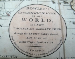 Map detail from Bowles Geographical Game of the World