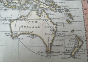 Detail showing Australia from Bowles Geographical Game of the World, 1795