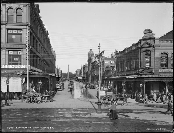 Bathurst Street from George Street', photo by Kerry and Co, Sydney, 1890-1900