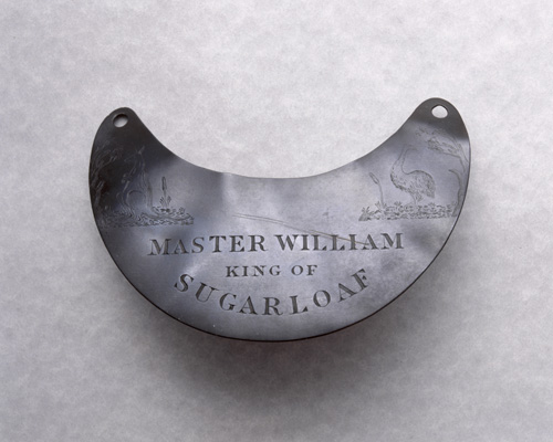 "Photograph of engraved breastplate, ""Master William King"""