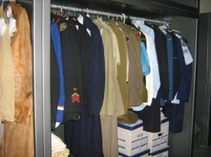 Clothes hanging on padded coat-hangers