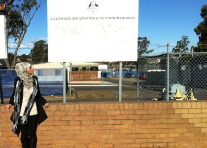 Widyan Al-Ubudy outside the Villawood Detention Centre.