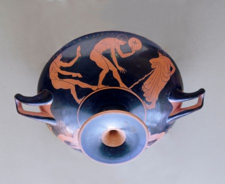 Drinking cup (kylix), red-figure style, glazed terracotta
