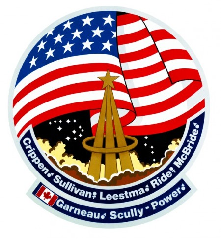Detail of mission patch for Sally Ride's second space mission