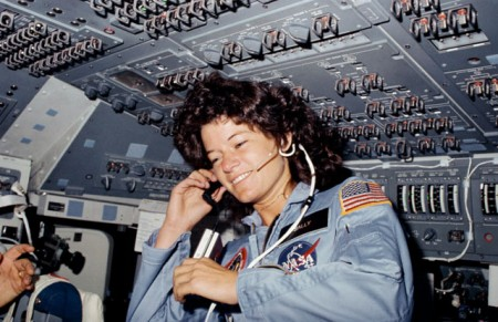 Dr. Sally K. Ride, first American woman in space, during the STS-7 mission in June 1983