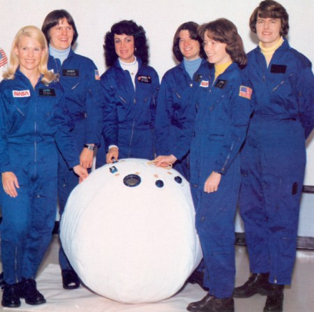 NASAs first six women astronauts: M. Rhea Seddon, Kathryn D. Sullivan, Judith A. Resnick, Sally K. Ride, Anna L. Fisher, and Shannon W. Lucid.