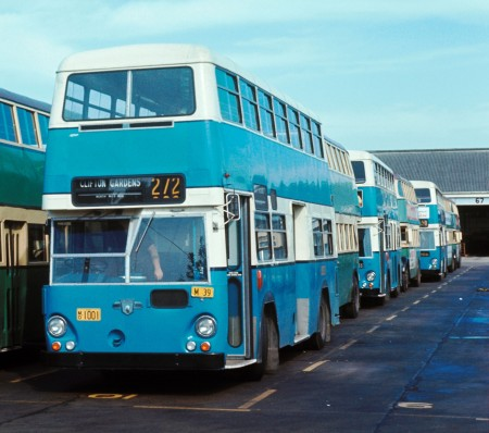 Leyland Atlantean bus No.1001 at Willoughby Depot in 1972