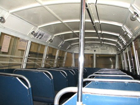 Looking along upstairs aisle of the Museum's Leyland Titan double deck bus.