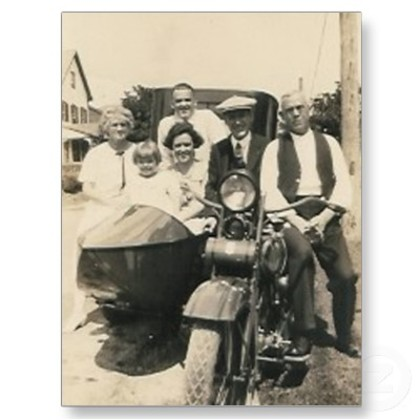 Family on the motorcycle and sidecar