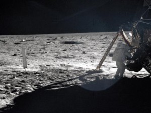 Armstrong on the lunar surface