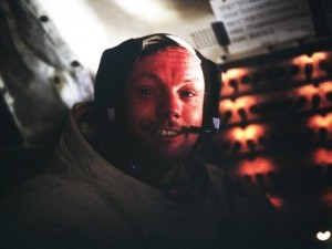 Tired, but happy. Armstrong in the lunar module after the Apollo 11 Moonwalk.