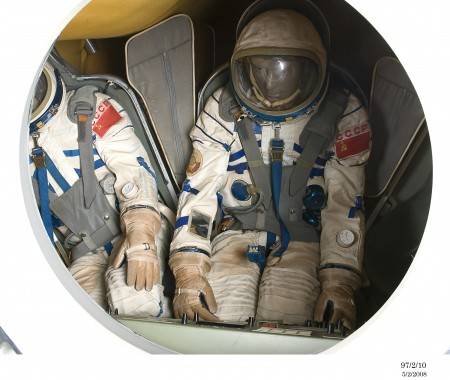 Photograph of replica of a Soyuz re-entry capsule