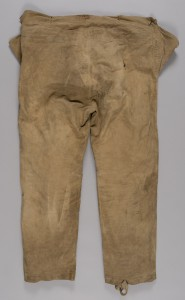 Detail of Burberry over trousers worn by Charles Laseron on Mawson's expedition