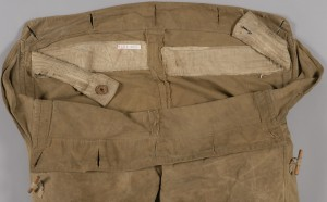 Detail of the over trousers showing the internal arrangement of the waist band.