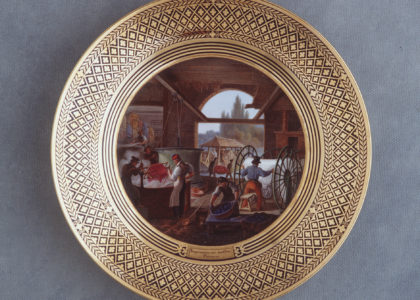 'Impression sur etoffes. Teinture' Plate with painted textile workshop scene