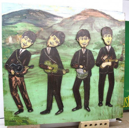 Mechanical wooden/metal figures of The Beatles in shop display