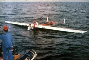 """Brian Milton and Mike Atkinson rescuing the """"Dalgety Flyer"""" from the Persian Gulf. Photo courtesy of Brian Milton."""